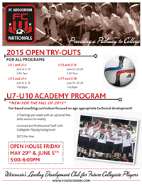 FC Wisconsin Announces Try-Out Dates for 2015 Season